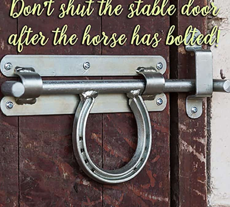 Don't shut the stable door after the horse has bolted!